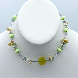 Green Glass Cat Eye Faux Stone Choker Necklace